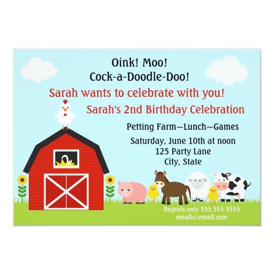 Barnyard Animals Birthday Invitation Personalised