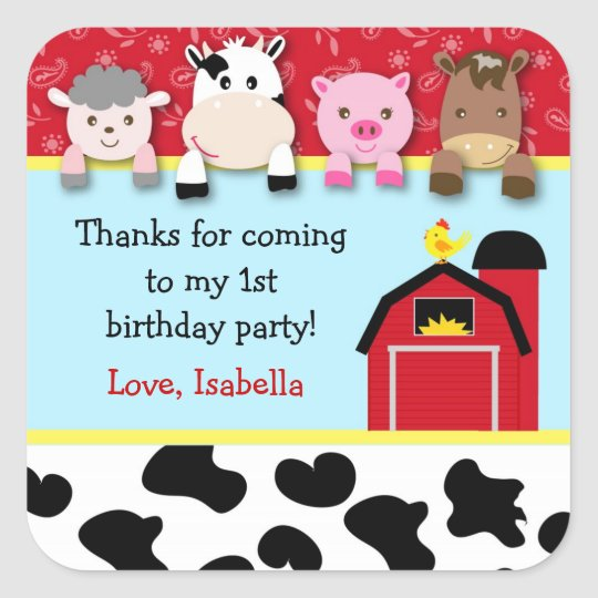 Barnyard animals Birthday Party favour labels