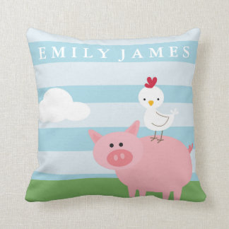 Barnyard Animals Nursery Throw Pillow