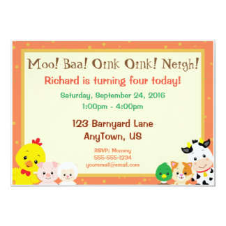Barnyard Babies Birthday Invitation