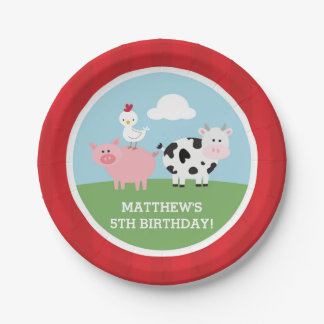Barnyard Birthday Bash/Party 7 Inch Paper Plate