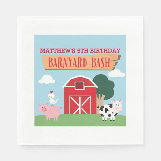 Barnyard Birthday Bash/Party Paper Napkin