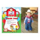 Barnyard Birthday Farm Animal Thank You with Photo Card
