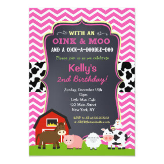 Barnyard Birthday Party Invitations for Girl