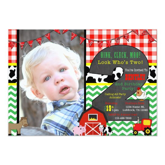 Barnyard Birthday Photo Invitation