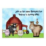 Barnyard Farm Animal 1st Birthday Invitations