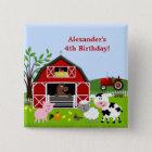 Barnyard Farm Animals Birthday Button