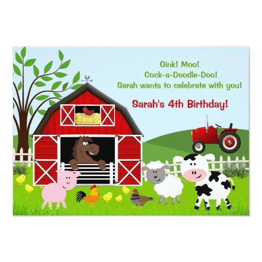 Barnyard Farm Animals Birthday Party Invitations Zazzle Co Uk Rh