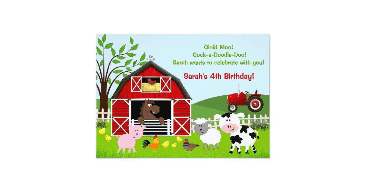 Barnyard Farm Animals Birthday Party Invitations   Zazzle.co.uk