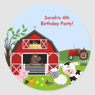 Barnyard Farm Animals Birthday Party Sticker Round Sticker