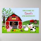 Barnyard Farm Animals Birthday Poster