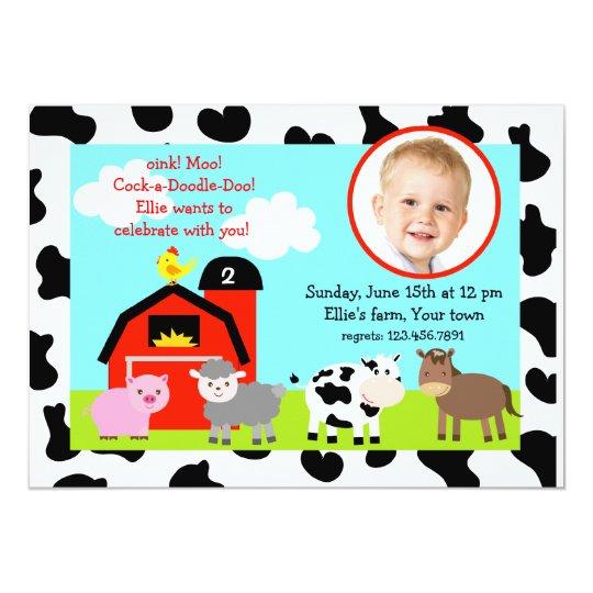 Barnyard Farm Animals Photo Birthday Invitations