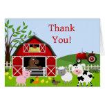 Barnyard Farm Animals Thank You Card