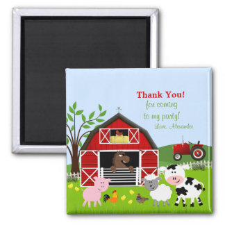 Barnyard Farm Animals Thank You Magnet