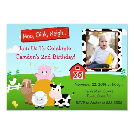 2nd birthday thank you cards invitations zazzle barnyard farm birthday invitation 5x7 photo card stopboris Images