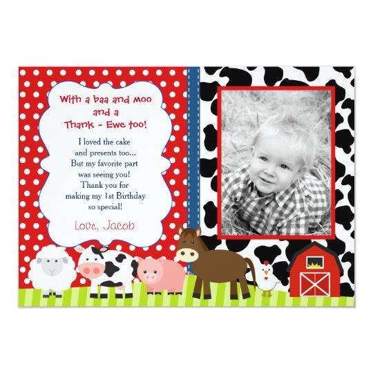 Barnyard Farm Birthday Thank You Note Cards