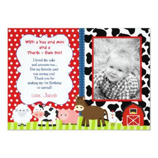Barnyard Farm Birthday Thank You Note Cards 13 Cm X 18 Cm Invitation Card