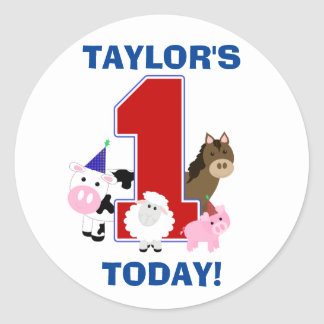 Barnyard First Birthday Sticker