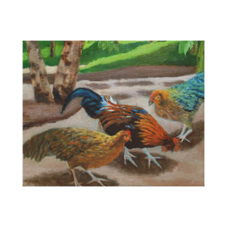 Barnyard Rooster and Hens Figurative Oil Painting Canvas Print