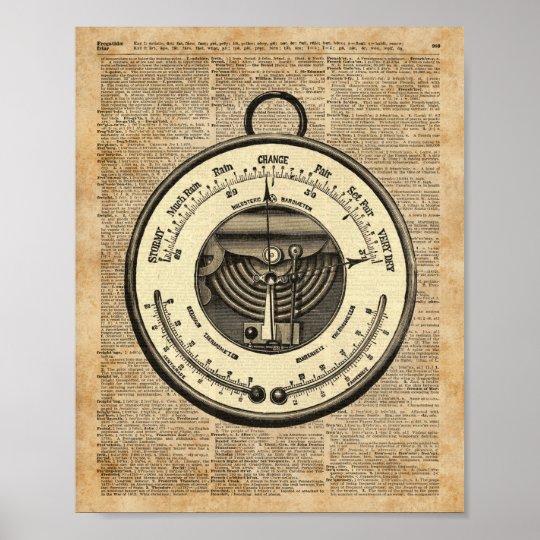 Barometer Vintage Tool Dictionary Art Poster