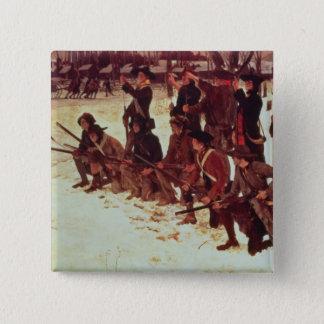 Baron von Steuben drilling American recruits 15 Cm Square Badge