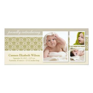 Baroque 3-Photo Birth Announcement (taupe) 10 Cm X 24 Cm Invitation Card
