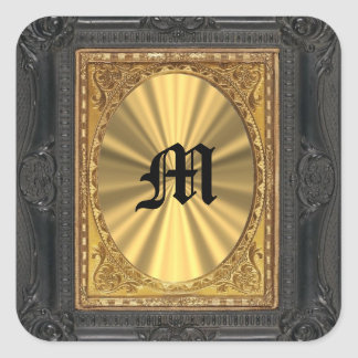baroque and gold square sticker