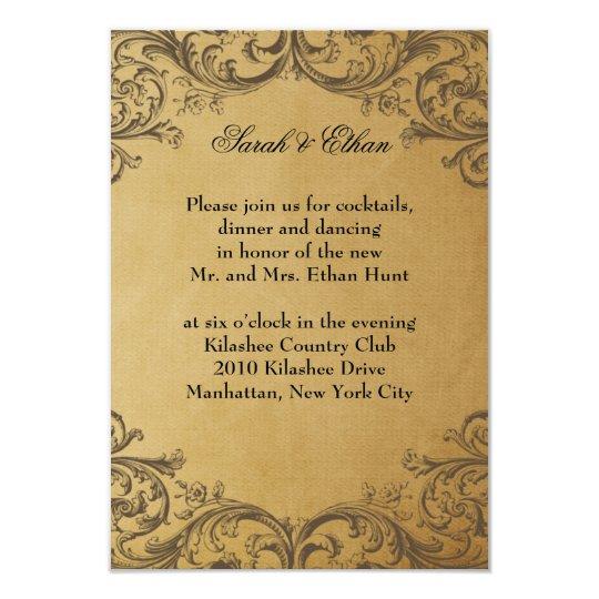 Baroque Antique Gold Wedding Reception Cards