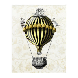 Baroque Balloon Black Yellow Acrylic Print