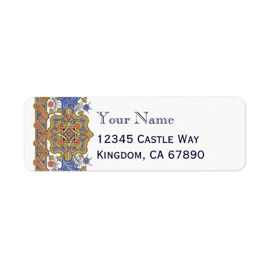 Baroque Blue and Golds Custom Label Template