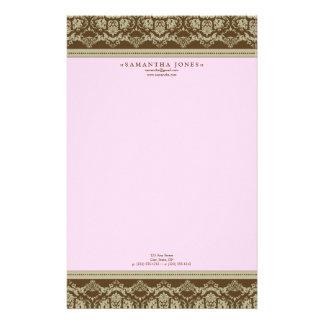 Baroque Damask Designer Stationery :: baby pink