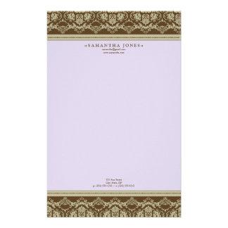 Baroque Damask Designer Stationery :: lilac