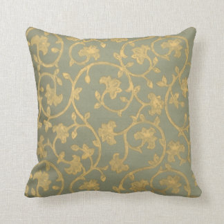 Baroque Damask ~ gold, green swirl throw pillow