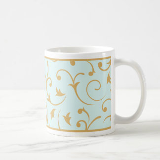 Baroque Design Gold on Light Blue Coffee Mug