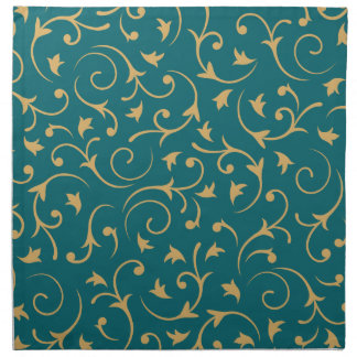 Baroque Design – Gold on Teal Napkin