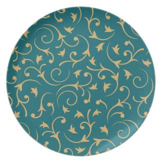 Baroque Design – Gold on Teal Plate