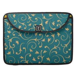 Baroque Design – Gold on Teal Sleeve For MacBooks