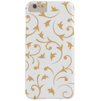 Baroque Design Gold on White Barely There iPhone 6 Plus Case