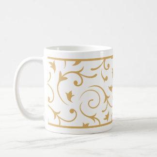 Baroque Design Gold on White Coffee Mug