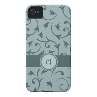 Baroque Design with Personalised Band in Greys iPhone 4 Case-Mate Cases