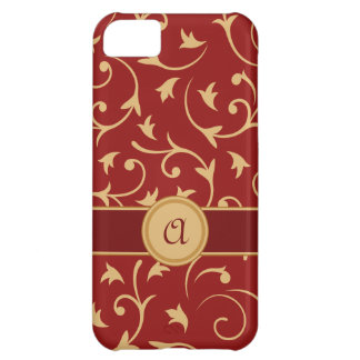 Baroque Design with Personalised Band Red & Gold iPhone 5C Covers
