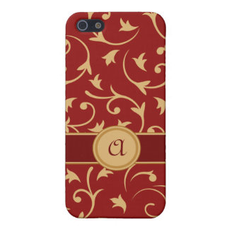 Baroque Design with Personalised Band Red & Gold iPhone 5/5S Cover