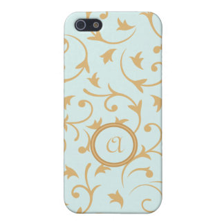 Baroque Design with Personalised Disc Blue Gold Cover For iPhone 5/5S