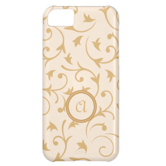 Baroque Design with Personalised Disc Gold Cream iPhone 5C Cover