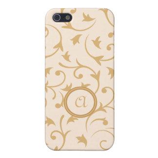 Baroque Design with Personalised Disc Gold Cream iPhone 5 Case
