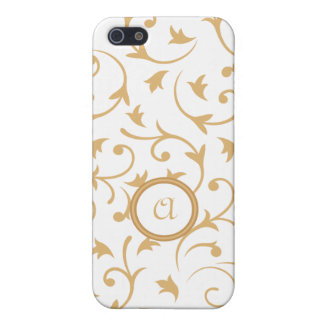 Baroque Design with Personalised Disc Gold & White iPhone 5 Case