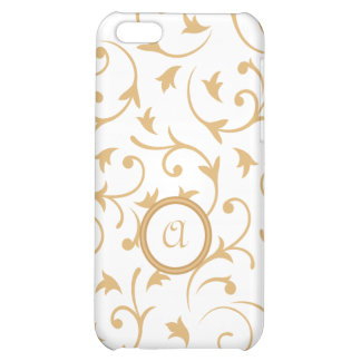 Baroque Design with Personalised Disc Gold & White Case For iPhone 5C