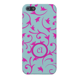 Baroque Design with Personalised Disc Pink Blue iPhone 5/5S Cover