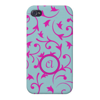 Baroque Design with Personalised Disc Pink & Blue iPhone 4 Covers