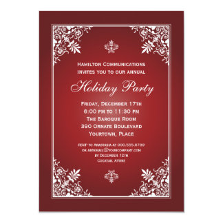 Baroque Elegance Garnet Corporate Holiday Party Card